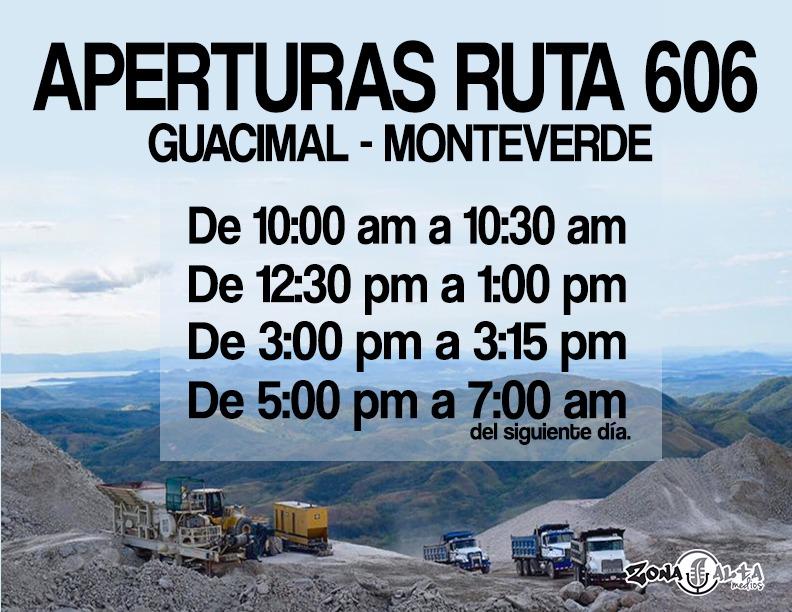 Monteverde Road closure schedule 2018