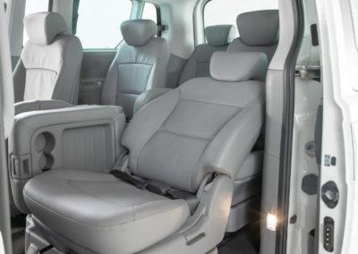 Van with door open and reclined seat